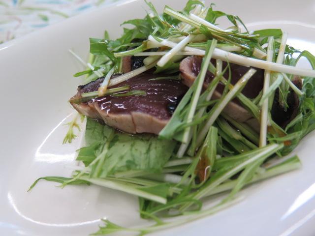 水菜とタタキのポン酢和え