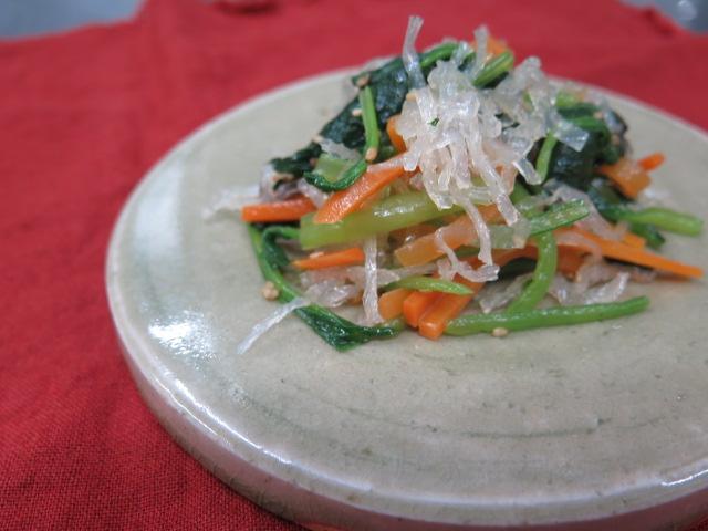小松菜と寒天のナムル
