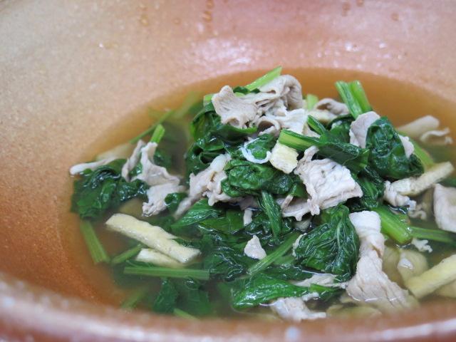 ビタミン菜と京都ポークの柚子胡椒煮