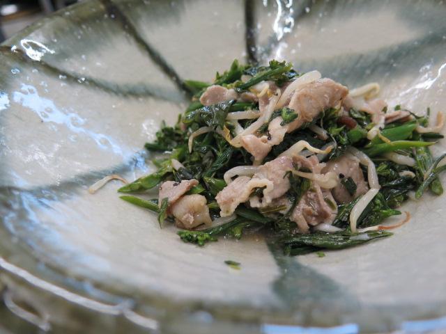 京ラフランと豚肉の塩炒め