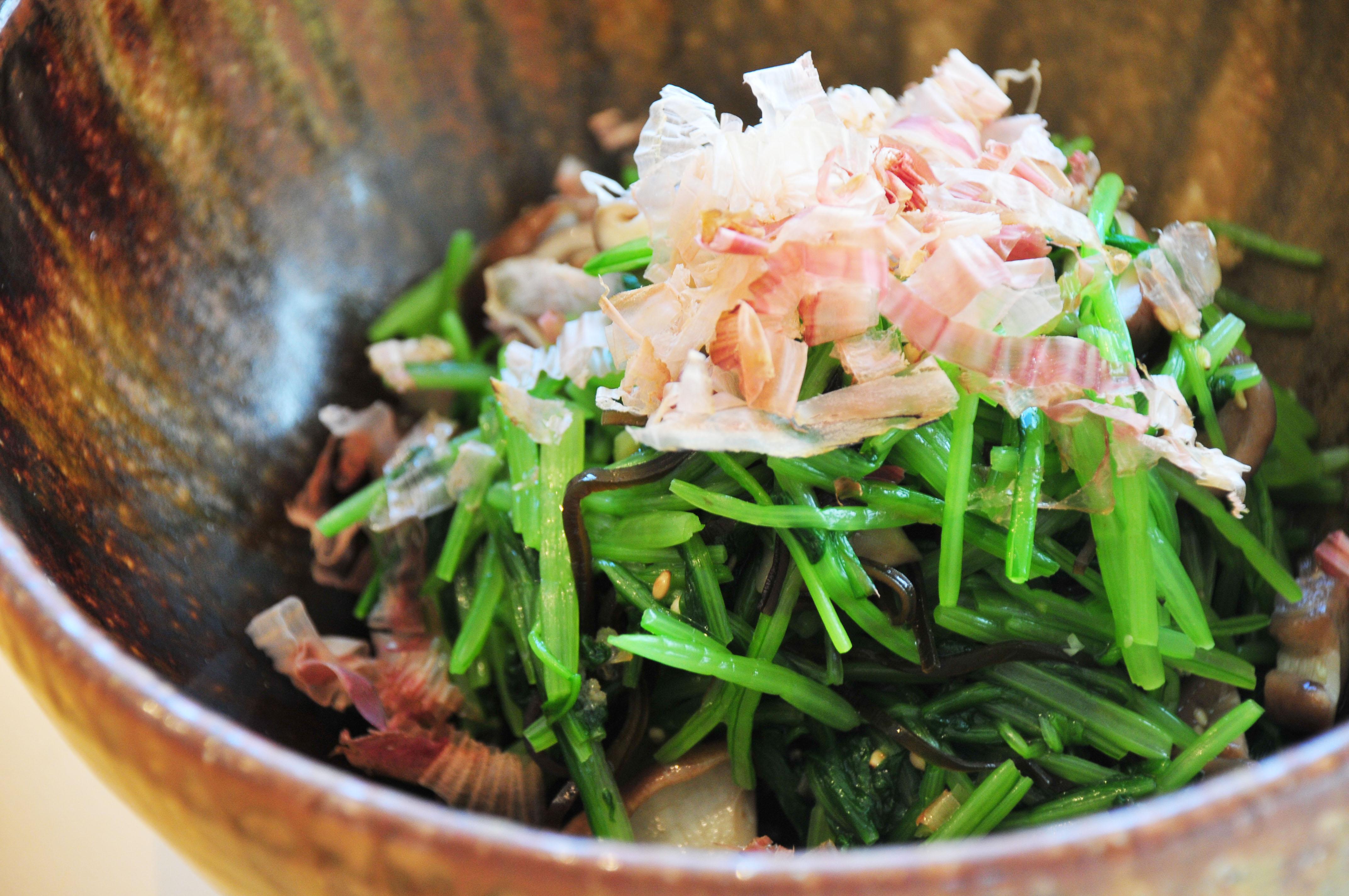 壬生菜の塩昆布おかか和え